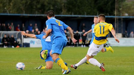 Charlie Smith scores on his debut to give the Saints all three points. Picture: Leigh Page