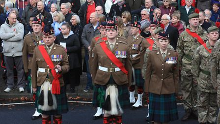 Black Watch from the Scottish Highlands join the memorial service. Credit: Clive Porter.