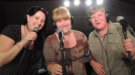 NYAS members Steff Killack, Jo King and Nicky Gooden recording the CD.