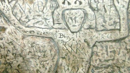King David carved on the wall of the Royston Cave