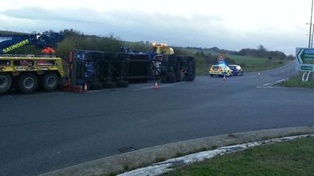 A lorry has overturned on the A505 near to the turning for Baldock. Credit: @roadpolicebch via Twitt