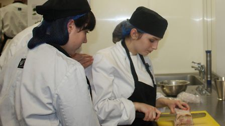 Students prepare lunch at Oaklands College's new Stables Restaurant