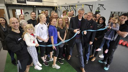 Opening of The Unit Gym, Godmanchester, with (centre) swimmer Mark Foster, and ex Eastenders Actor R