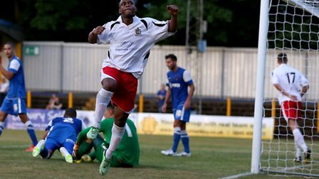 Greg Ngoyi celebrates after scoring against Leyon Orient. Picture by Leigh Page
