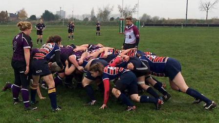 OA Saints and Romford and Gidea Park prepare for a scrum