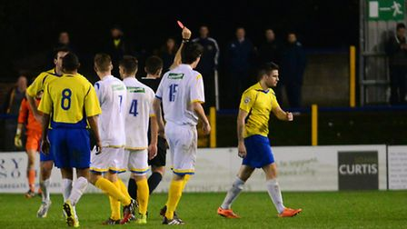 Lee Chappell walks from the field after a straight red card. Picture: Bob Walkley