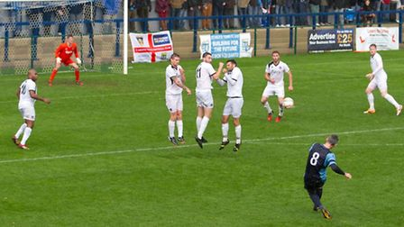 St Neots Town vs Truro: Matt Spring tries his luck with a free-kick. Picture: Claire Howes.