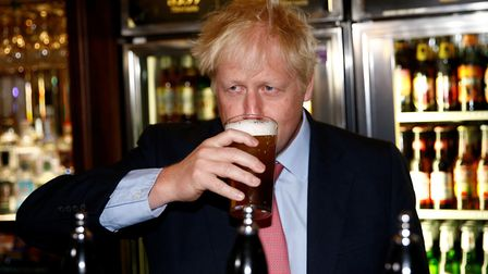 Conservative Party leadership candidate Boris Johnson during a visit to Wetherspoons. Photograph: He