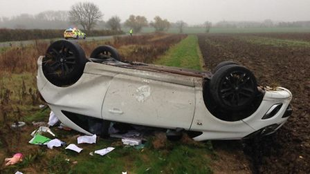 A driver suffered minor injuries in a crash near St Neots. Picture: BCH Roads Police