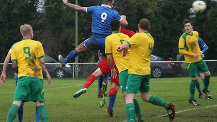 Jimmy Hill scores London Colney's equaliser against Northampton Spencer. Picture: James Whittamore
