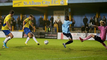 Nathan Green having a shot at goal. Picture: Leigh Page