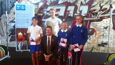 Former British runner Steve Cram with Sawtry students Amber Park, Daniel Lornie, Josie Fortune and D