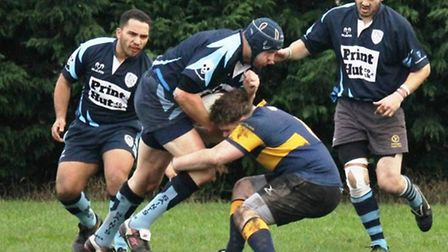 Lock forward Nick Ashford in action for St Neots Saints in their win at Bourne.