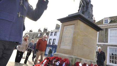 Remembrance Day in Huntingdon, trumpeter Zoe Perkins, from Hinchingbrooke School Lower Sixth.