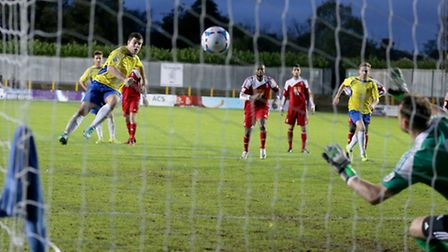 John Frendo slots home from the spot. Picture: Leigh Page
