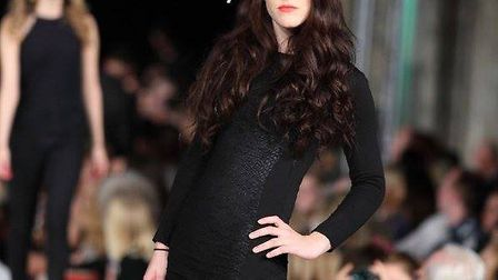 Mary Bates in the cathedral catwalk show at St Albans Fashion Week