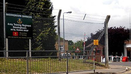 Two Libyan men who trained at Bassingbourn Barracks appeared in court today accused of raping a man.