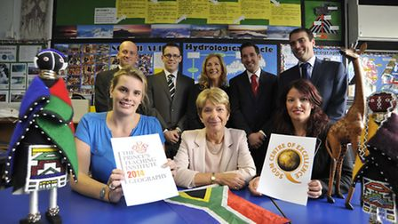 St Ivo School, Geography Deparment wins awards, staff (front l-r) Sophie Raine, Head of Geography Je