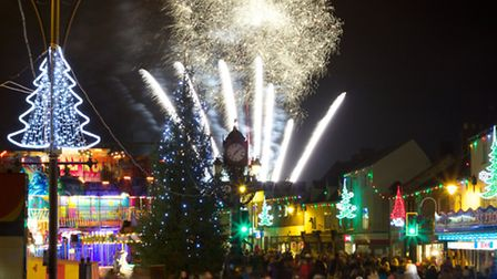 Ramsey fireworks at Christmas lights switch-on