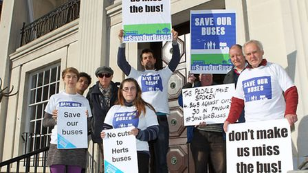 The group of protesters outside County hall in Hertford opposing a proposed £1 million cut in bus se