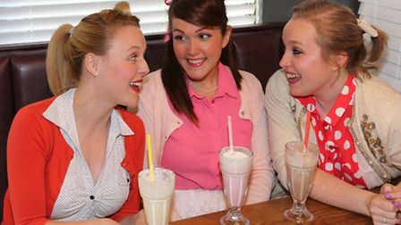 L-R Bethan Rufey as Sandy, Andrea Campusano as Frenchy and Elise Allanson as Rizzo