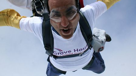 Sid Khan does a skydive for Grove House