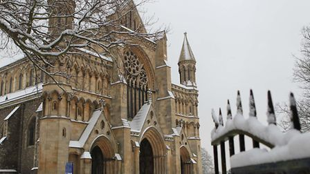 St Albans Abbey in the snow
