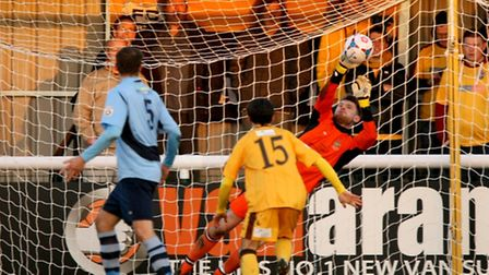 Joe Welch pulls of another fine save. Picture: Leigh Page