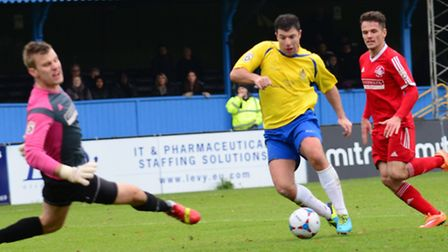 John Frendo scored for St Albans City in their 1-1 Boxing Day draw with Hemel Hempstead. Picture: Bo