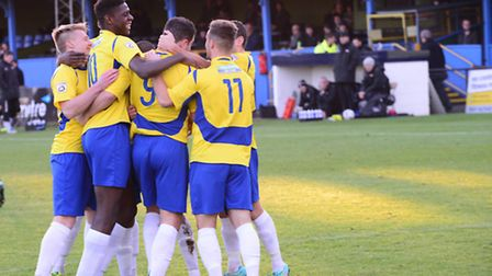 The Saints celebrate John Frendo's winner, which came in the first minute, against Bath City. Pictur