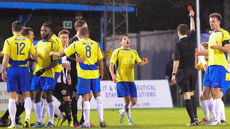 Charlie Gorman is shown a red card against Bath City. Picture: Bob Walkley