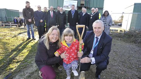 Pre-school trustee Caroline Greyson, her daughter Natasha and Councillor Barry Chapman at the site.