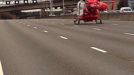 The Herts Air Ambulance arrived at the scene. Photo courtesy of @roadpoliceBCH