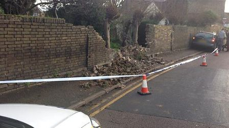 Wall destroyed by car in North Road, St Ives. Picture: BCH Roads Policing Unit