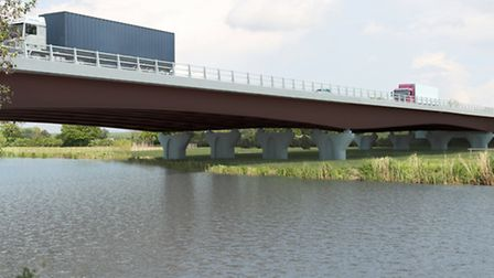 An impression of what the A14 bridge will look like in 15 years.