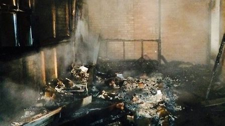 Damage caused by an arson attack at the former Huntingdonshire Regional College site in St Neots.