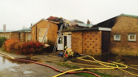 Firefighters at the former Huntingdonshrie Regional College site. Picture: CAMBS FIRE AND RESCUE