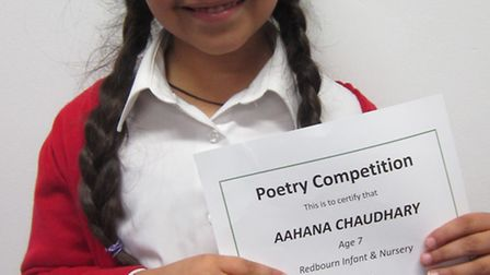 Aahana Chaudhary with her certificate
