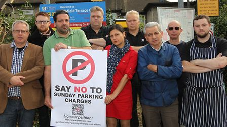 Local traders gather in the Keyfield Terrace car park to protest Sunday parking charges in St Albans