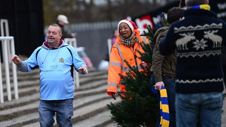 St Albans fans brought a Christmas tree to the Fortress Stadium. Picture: Bob Walkley