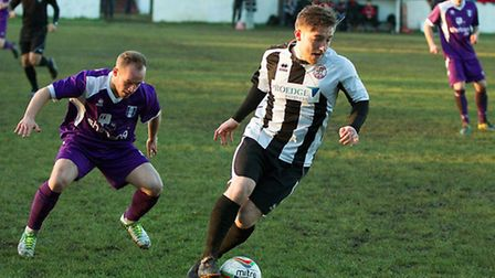 Ben Seymour-Shove in action for St Ives Town against Daventry Town on December 13.