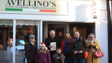 Royston Cash Mob outside Avellino's cafe by Clive Porter