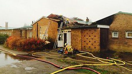 Firefighters at the former Huntingdonshire Regional College site in St Neots. Picture: CAMBS FIRE AN