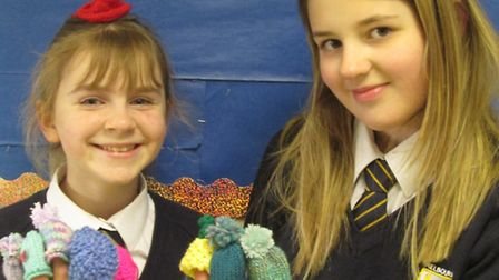 Pupils at Melbourn Village College learn to knit to make charity hats for Innocent smoothies
