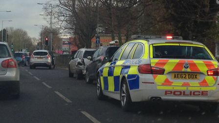 Police at the scene of the Huntingdon ring road crash. Picture: HELEN DRAKE