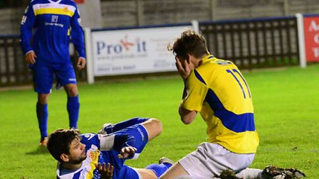 Elliot Bailey holds his head in his hands after missing a guilt-edged chance. Picture: Bob Walkley