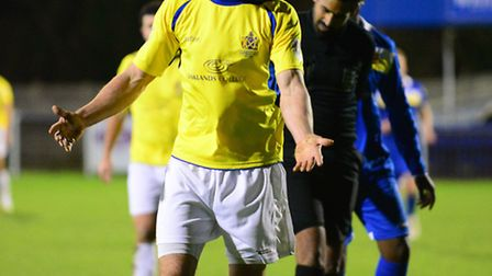 Steve Wales was sent off in the second half against Wealdstone. Picture: Bob Walkley