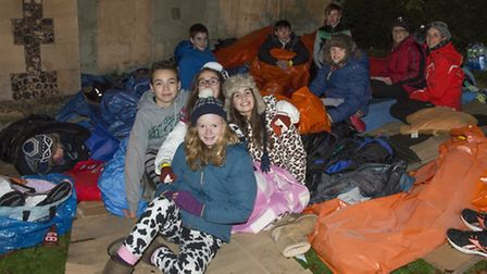 A group of people from St Peters Church St Albans sleeping out