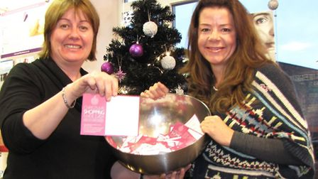 Two of the staff at Breathing Space making last week's draw