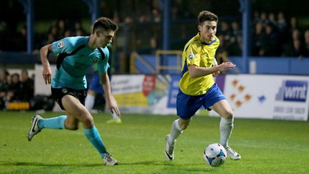 Sean Shields in action against Havant & Waterlooville. Picture: Leigh Page